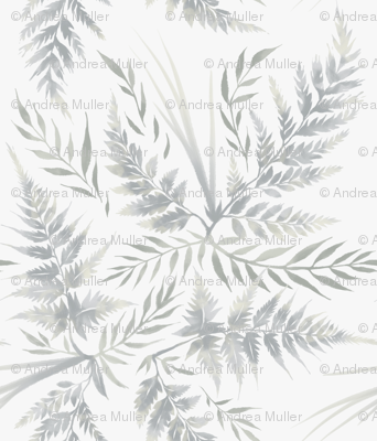 Fern Leaves - White - Large Scale