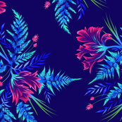 Ferns & Parrot Tulips - Dark Blue/Pink - Large Scale