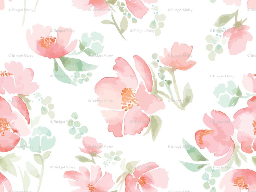 Giant Watercolor Field Full Of Flowers For Wallpaper Wallpaper