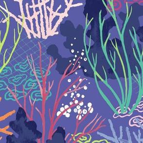 coral Reef - navy pink