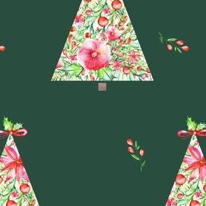 Floral Christmas Tree - Green