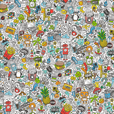 Comic Pop art  Doodle Color Juice instead of Beer