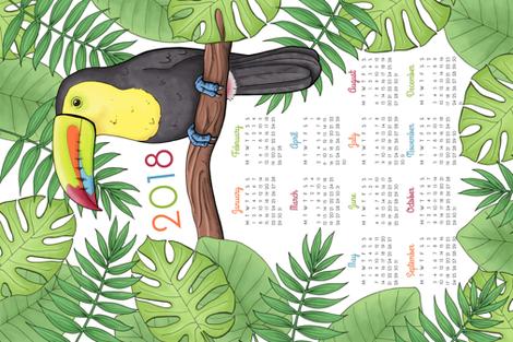 Toucan Tea Towel Calendar 2018 fabric by hazel_fisher_creations on Spoonflower - custom fabric