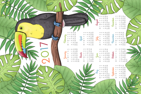 Toucan Tea Towel Calendar 2017 fabric by hazel_fisher_creations on Spoonflower - custom fabric