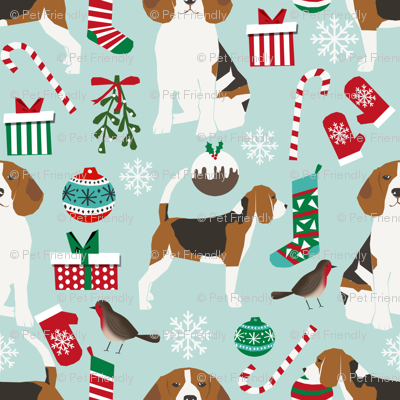beagle christmas fabric cute dogs christmas design best beagles ...