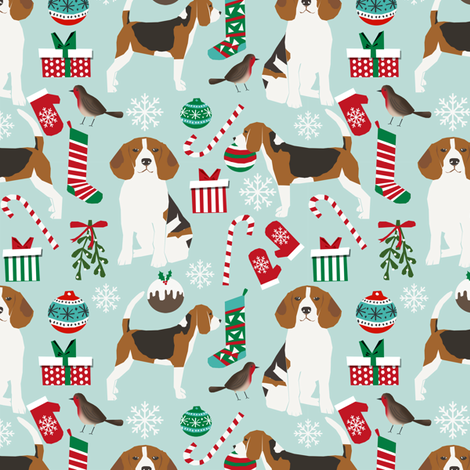 Beagle Christmas Fabric Cute Dogs Christmas Design Best