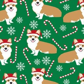 santa corgis cute christmas fabrics snowflakes and candy canes cute christmas fabrics dog christmas