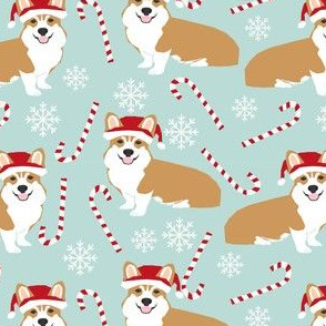 santa corgis cute christmas fabrics cute dogs fabric candy cane