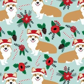 corgis poinsettias christmas florals fabric cute dogs fabric best corgi design cute corgi fabric poinsettias