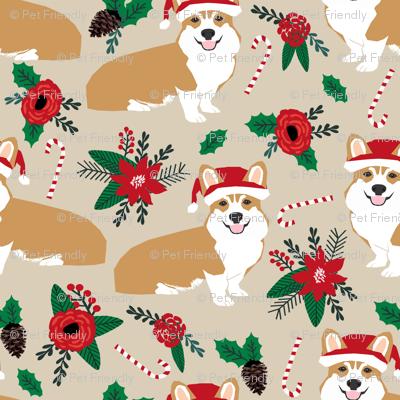 corgis dog fabric poinsettia dogs fabric cute christmas florals best christmas flowers corgi in santa hats - Christmas Corgi