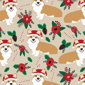 corgis dog fabric poinsettia dogs fabric cute christmas florals best christmas flowers corgi in santa hats cute dogs