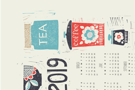 Good Morning! 2019 calendar tea towel fabric by ruth_hickson on Spoonflower - custom fabric