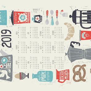 Good Morning! 2019 calendar tea towel