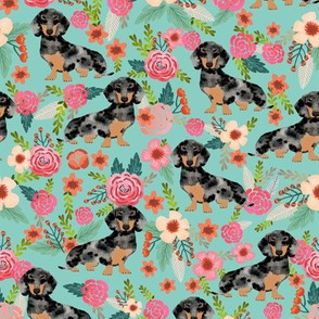 doxie dog dachshund dachshunds fabric cute flowers mint fabric dapple dachshunds fabric cute dapple doxie design