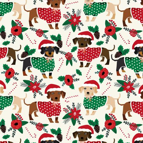 doxie christmas fabrics cute dachshunds fabric best doxie dogs xmas holiday fabrics fabric by petfriendly on Spoonflower - custom fabric