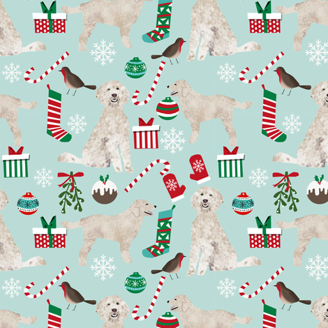 golden doodle christmas fabric cute xmas holiday christmas fabrics ...