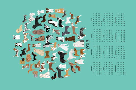 2019 Dog Breed Calendar fabric by petfriendly on Spoonflower - custom fabric
