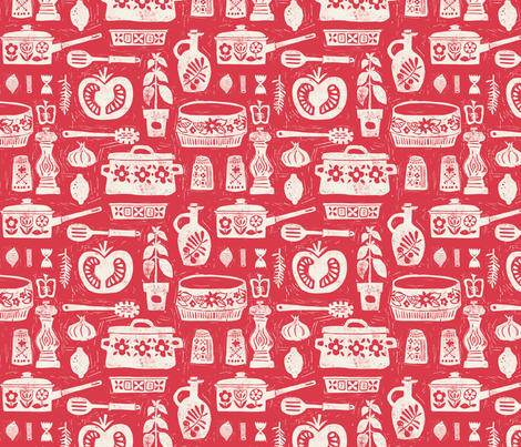 Pots and Pans - red fabric by ruth_hickson on Spoonflower - custom fabric