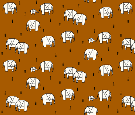Geo elephants - rust || by sunny afternoon fabric by sunny_afternoon on Spoonflower - custom fabric
