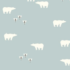 polar bears - seafoam pale blue woodland forest bears || by sunny afternoon