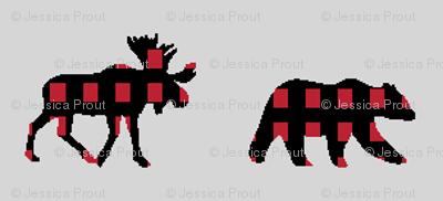 (micro print) moose and bear plaid V2
