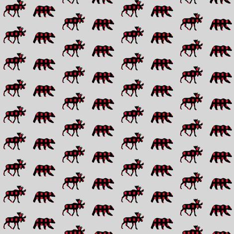 (micro print) moose and bear plaid V2  fabric by littlearrowdesign on Spoonflower - custom fabric