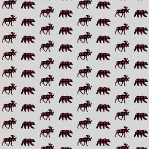 (micro print) moose and bear plaid V2