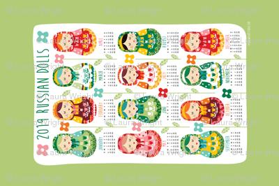 2019 Russian dolls tea towel calendar