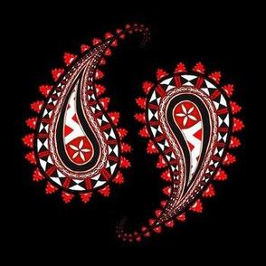 Fijian Masi Paisley Red