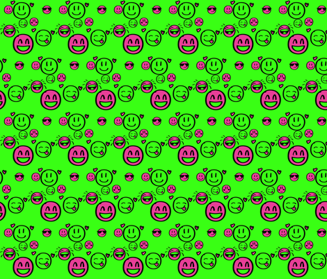 DoodleSmileorange pink-ch-ch fabric by chuckandtaz on Spoonflower - custom fabric