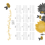 This year bee good and feed the bees - 2017 calendar // honey bees sew your own tea towel with sunflowers