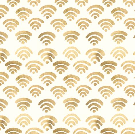 Gold Wifi Pattern Wallpaper Tangerine Tane Spoonflower