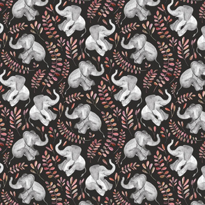 Laughing Baby Elephants with coral leaves - small print