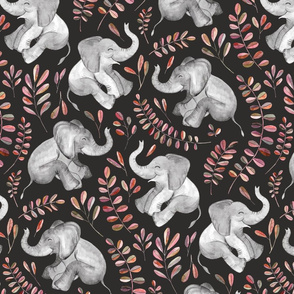 Laughing Baby Elephants with coral leaves - large print