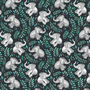 Laughing Baby Elephants with Emerald and Turquoise leaves - small print