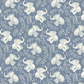Laughing Baby Elephants - monochrome soft blue and cream