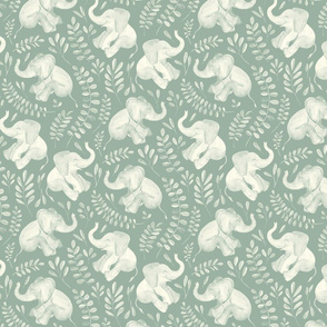 Laughing Baby Elephants - monochrome sage green and cream
