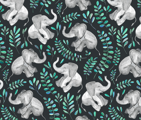 Laughing Baby Elephants with Emerald and Turquoise leaves - large print fabric by micklyn on Spoonflower - custom fabric