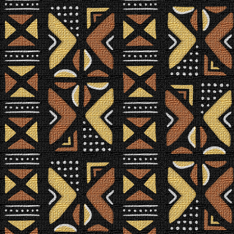 Mudcloth Inspired Fruit Slices and Dotted Triangles fabric by eclectic_house on Spoonflower - custom fabric