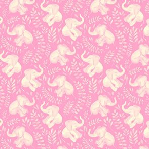 Laughing Baby Elephants - monochrome sage soft pink and cream