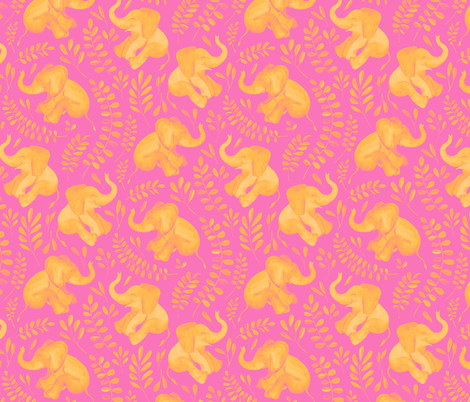 Laughing Baby Elephants - monochrome hot pink and orange fabric by micklyn on Spoonflower - custom fabric