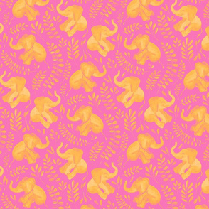 Laughing Baby Elephants - monochrome hot pink and orange