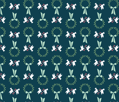 Wreath and Doves fabric by tessie_fay on Spoonflower - custom fabric