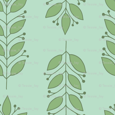 Leaves in Green and Aqua