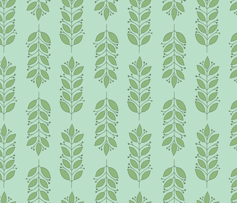 Leaves in Green and Aqua fabric by tessie_fay on Spoonflower - custom fabric