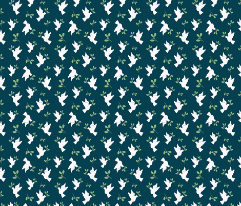 Doves in Navy and Green fabric by tessie_fay on Spoonflower - custom fabric