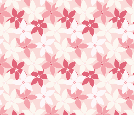 Pink Poinsettia fabric by tessie_fay on Spoonflower - custom fabric
