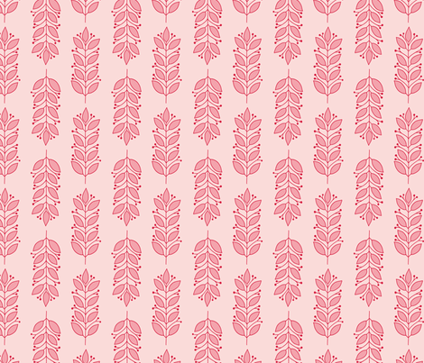 Pink Leaves fabric by tessie_fay on Spoonflower - custom fabric
