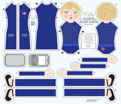 Hillary Rodham Clinton Cut-and-Sew Doll fabric by nicoleporter on Spoonflower - custom fabric