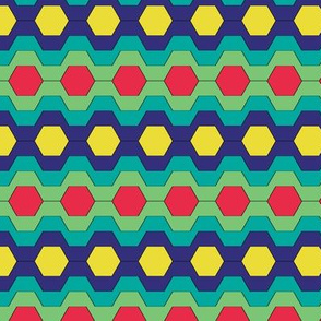FUNNY RETRO CARNIVAL CLOWNS HEXAGONS RED TEAL GREEN